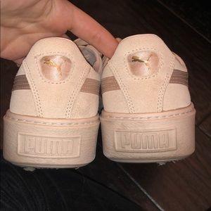 buy online c4231 24acb Puma Suede Platform Satin Sneaker Pink